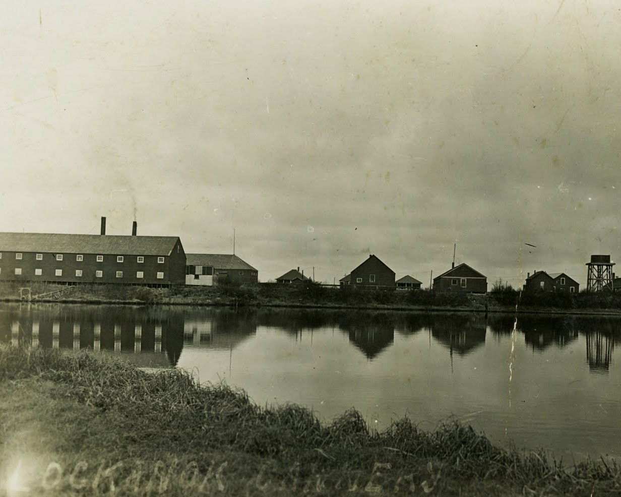 The Libby, McNeill and Libby cannery at Lockanok was built in 1900 at the mouth of the Alagnak River by the North Alaska Salmon Company from San Francisco. The cannery reportedly burned in 1937. Photo circa 1920-1930.